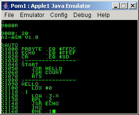 SB-Projects - Projects - Apple 1 - A1 Assembler